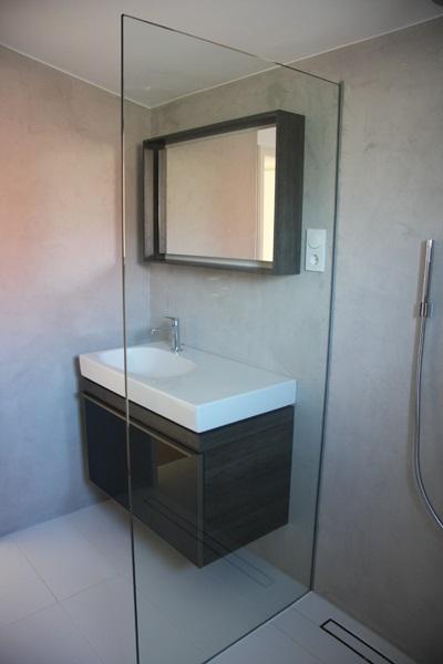 Bad Und G?ste WC Sanierung. Zusammenspiel Verschiedener Materialien. Beton  Cir? Im Duschbereich.